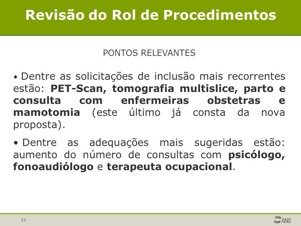 32 Revisão do Rol de Procedimentos PONTOS RELEVANTES Dentre as solicitações de inclusão mais recorrentes estão: PET-Scan, tomografia multislice, parto