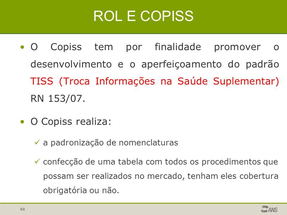 ROL E COPISS O Copiss tem por finalidade promover o desenvolvimento e o aperfeiçoamento do padrão TISS (Troca Informações na Saúde Suplementar) RN 153