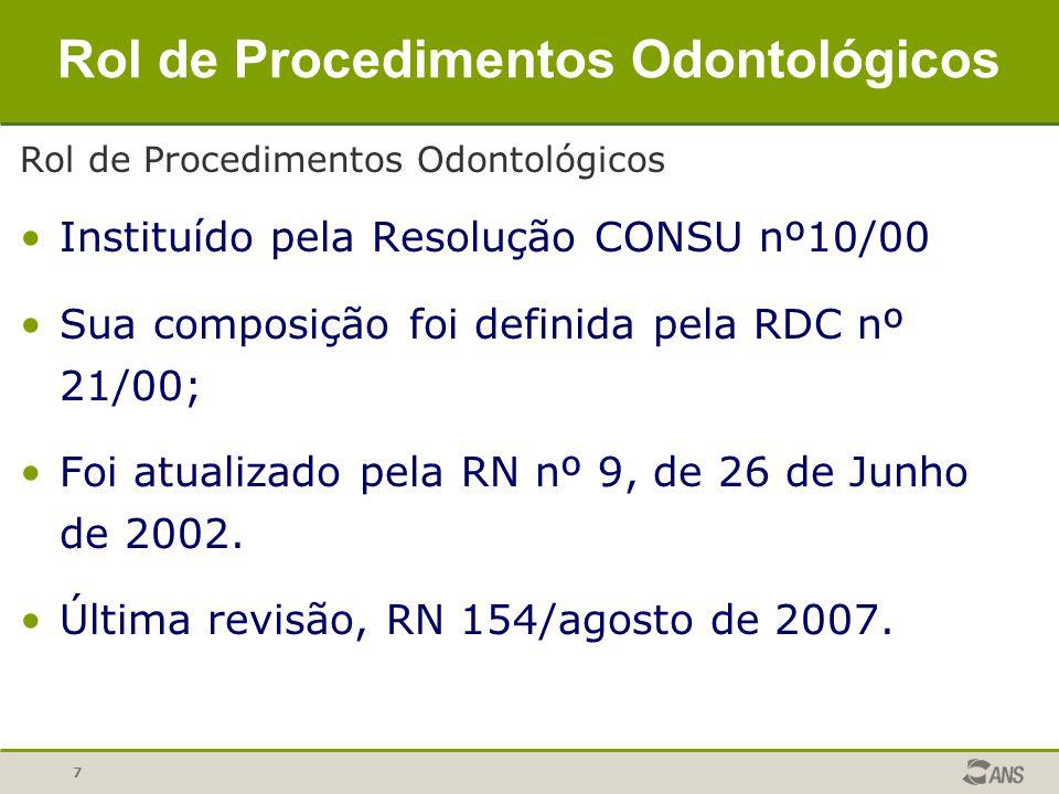 7 Rol de Procedimentos Odontológicos Instituído pela Resolução CONSU nº10/00 Sua composição foi definida pela RDC nº 21/00; Foi atualizado pela RN nº
