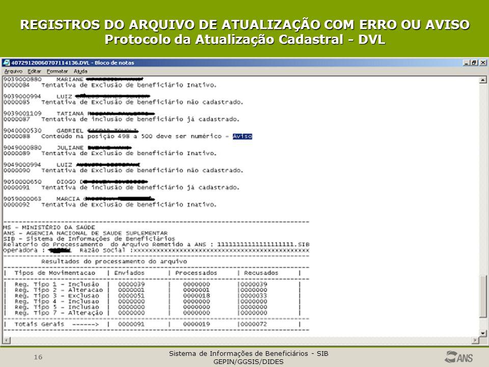Sistema de Informações de Beneficiários - SIB GEPIN/GGSIS/DIDES 16 REGISTROS DO ARQUIVO DE ATUALIZAÇÃO COM ERRO OU AVISO Protocolo da Atualização Cadastral - DVL