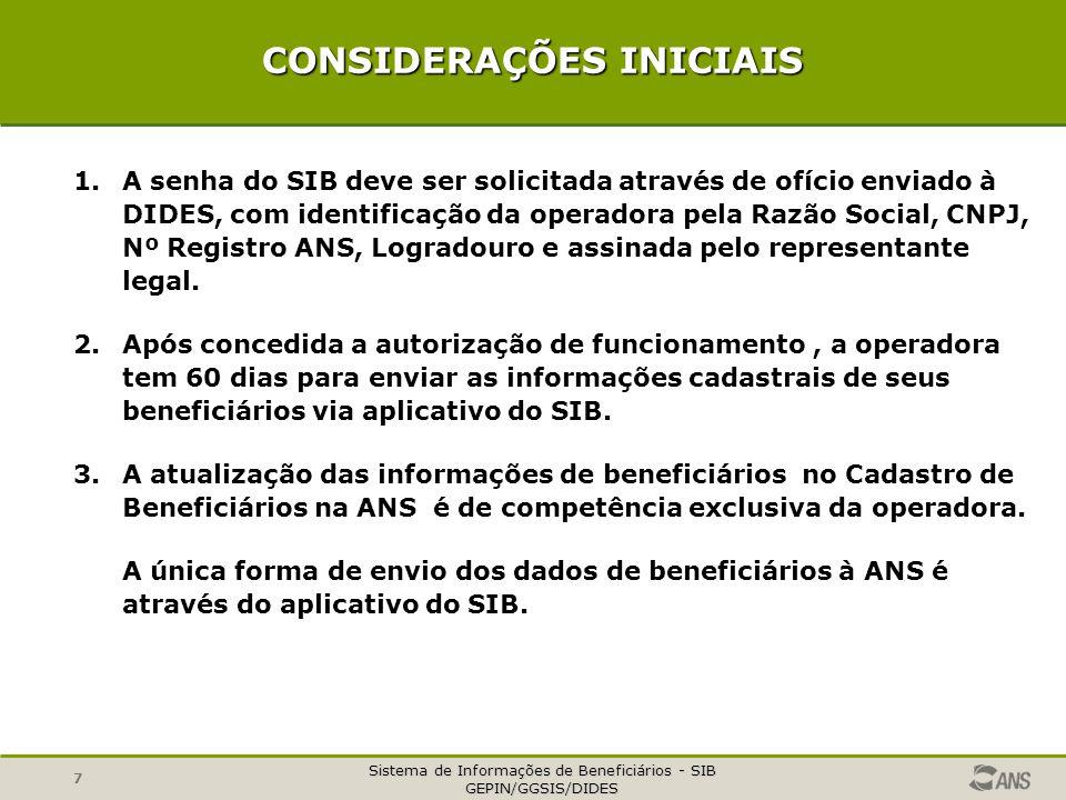 Sistema de Informações de Beneficiários - SIB GEPIN/GGSIS/DIDES 8 CONSIDERAÇÕES INICIAIS 4.A operadora deve informar à ANS todos os seus beneficiários de planos anteriores e posteriores à Lei 9.656/98.