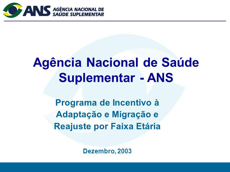 0 Agência Nacional de Saúde Suplementar - ANS Programa de Incentivo à Adaptação e Migração e Reajuste por Faixa Etária Dezembro, 2003