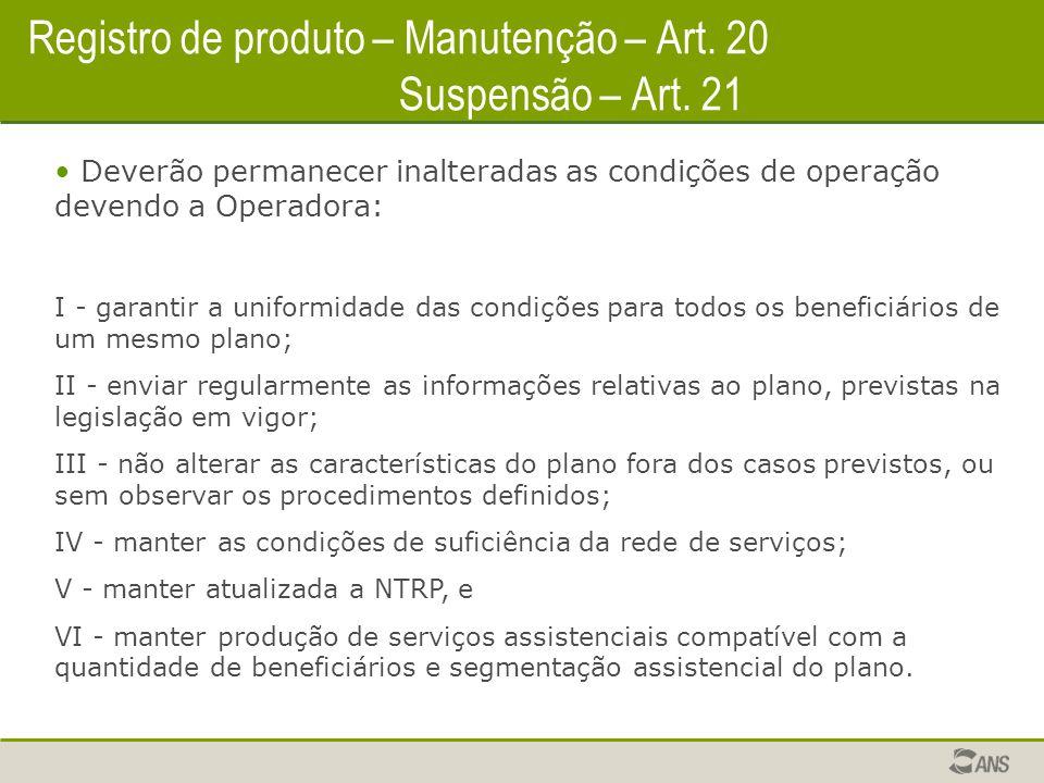 Registro de produto – Manutenção – Art.20 Suspensão – Art.
