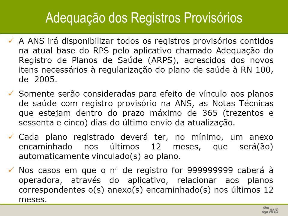 Adequação dos Registros Provisórios A ANS irá disponibilizar todos os registros provisórios contidos na atual base do RPS pelo aplicativo chamado Adequação do Registro de Planos de Saúde (ARPS), acrescidos dos novos itens necessários à regularização do plano de saúde à RN 100, de 2005.