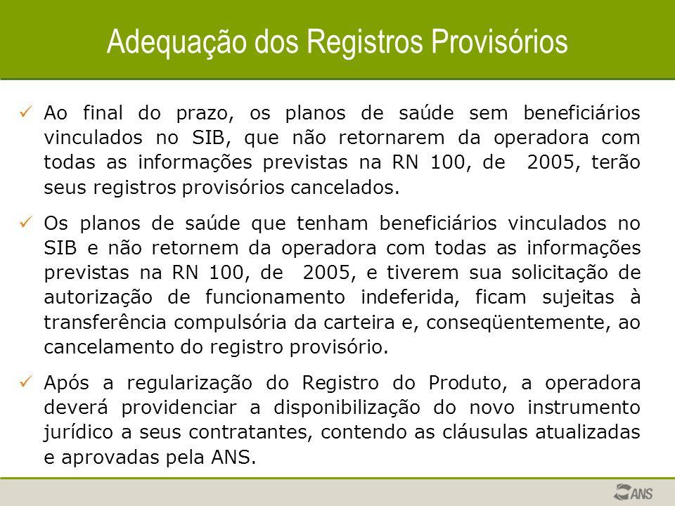 Adequação dos Registros Provisórios Ao final do prazo, os planos de saúde sem beneficiários vinculados no SIB, que não retornarem da operadora com todas as informações previstas na RN 100, de 2005, terão seus registros provisórios cancelados.