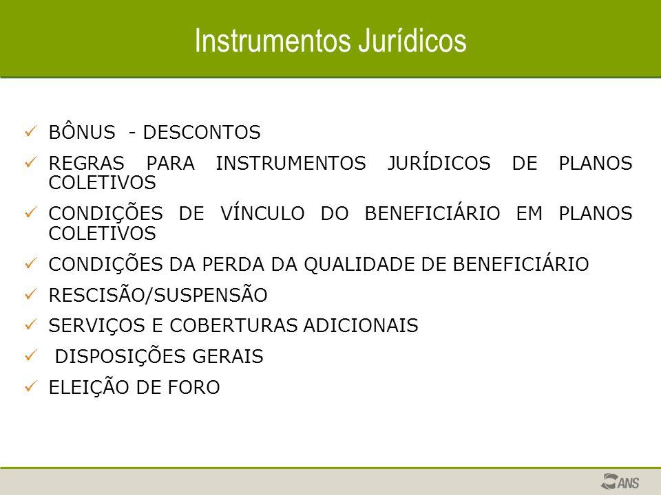 Instrumentos Jurídicos BÔNUS - DESCONTOS REGRAS PARA INSTRUMENTOS JURÍDICOS DE PLANOS COLETIVOS CONDIÇÕES DE VÍNCULO DO BENEFICIÁRIO EM PLANOS COLETIVOS CONDIÇÕES DA PERDA DA QUALIDADE DE BENEFICIÁRIO RESCISÃO/SUSPENSÃO SERVIÇOS E COBERTURAS ADICIONAIS DISPOSIÇÕES GERAIS ELEIÇÃO DE FORO