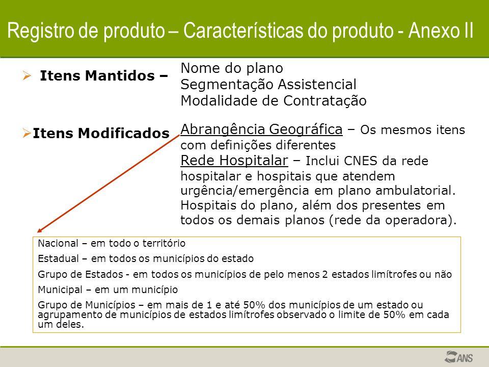 Registro de produto – Características do produto - Anexo II  Itens Incluídos – Área de Atuação – A operadora identifica Municípios ou Estados para cobertura, de acordo com a ABRANGÊNCIA GEOGRÁFICA do plano pretendida, à exceção da nacional.