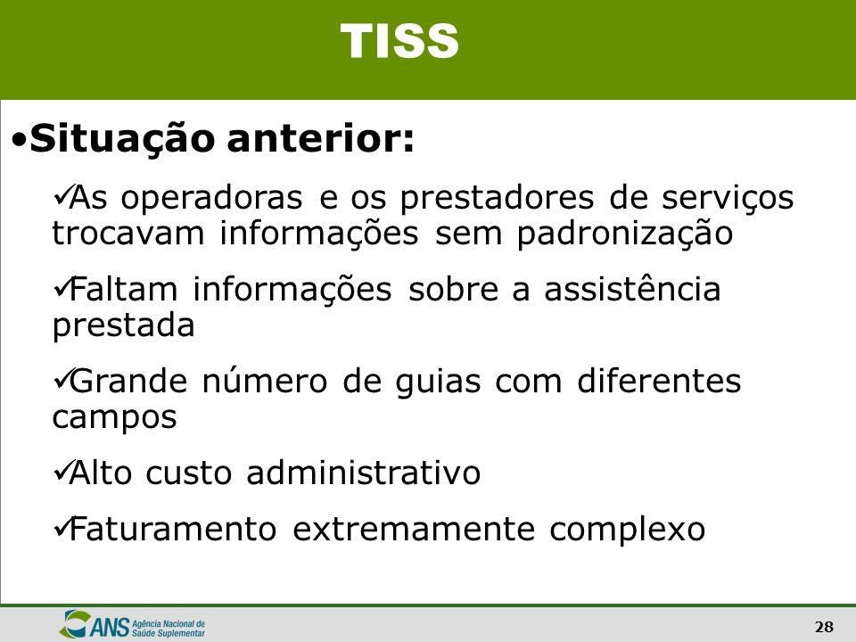 28 Situação anterior: As operadoras e os prestadores de serviços trocavam informações sem padronização Faltam informações sobre a assistência prestada