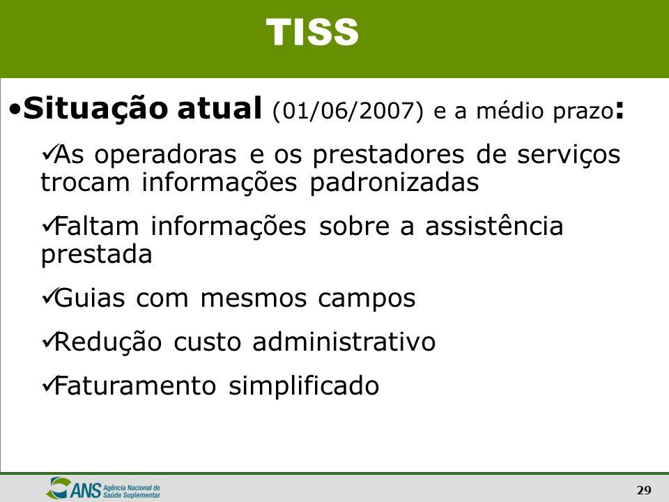 29 Situação atual (01/06/2007) e a médio prazo : As operadoras e os prestadores de serviços trocam informações padronizadas Faltam informações sobre a
