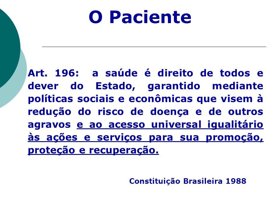Art. 196: a saúde é direito de todos e dever do Estado, garantido mediante políticas sociais e econômicas que visem à redução do risco de doença e de