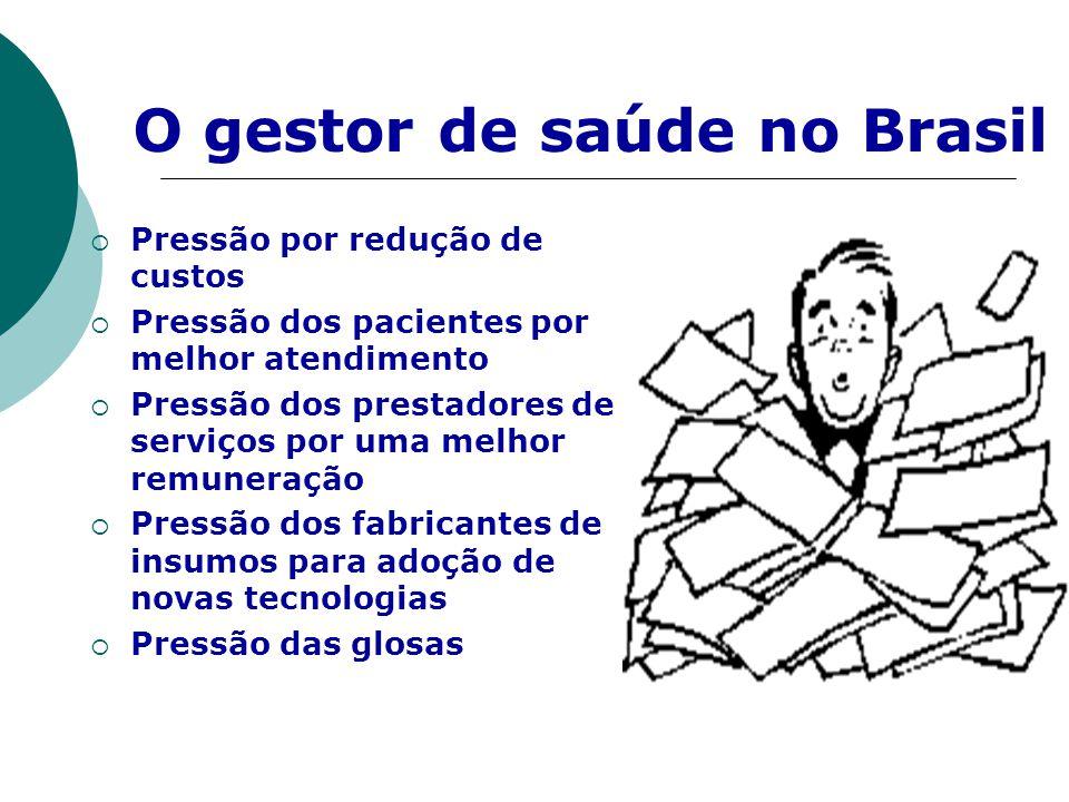 O gestor de saúde no Brasil  Pressão por redução de custos  Pressão dos pacientes por melhor atendimento  Pressão dos prestadores de serviços por u
