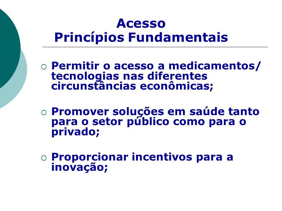  Permitir o acesso a medicamentos/ tecnologias nas diferentes circunstâncias econômicas;  Promover soluções em saúde tanto para o setor público como