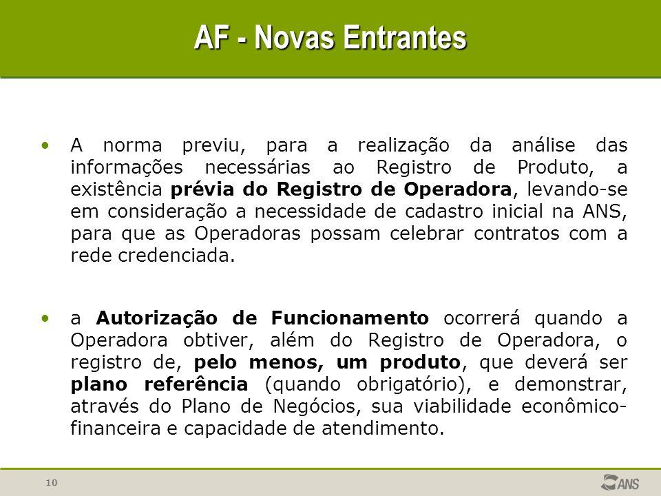 10 A norma previu, para a realização da análise das informações necessárias ao Registro de Produto, a existência prévia do Registro de Operadora, leva