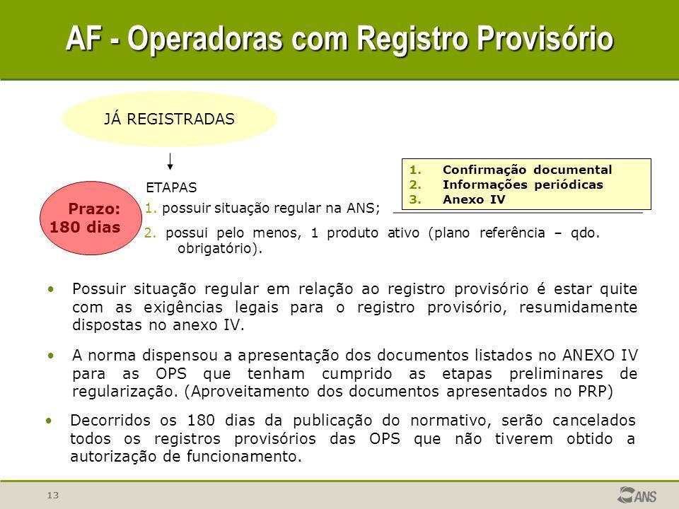 13 AF - Operadoras com Registro Provisório Possuir situação regular em relação ao registro provisório é estar quite com as exigências legais para o re