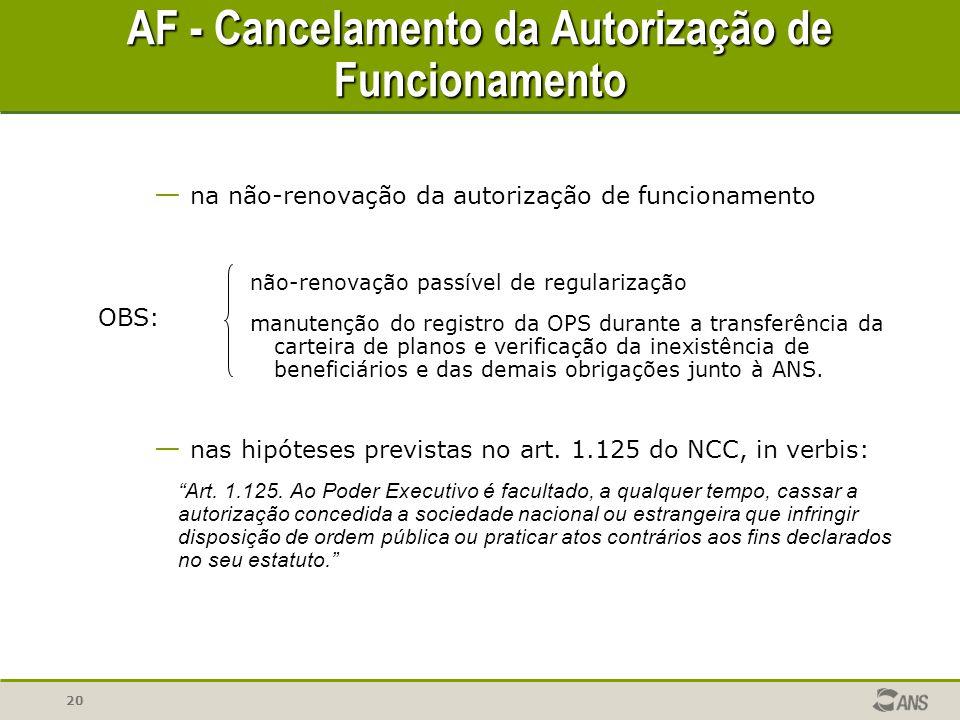 20 — na não-renovação da autorização de funcionamento não-renovação passível de regularização manutenção do registro da OPS durante a transferência da