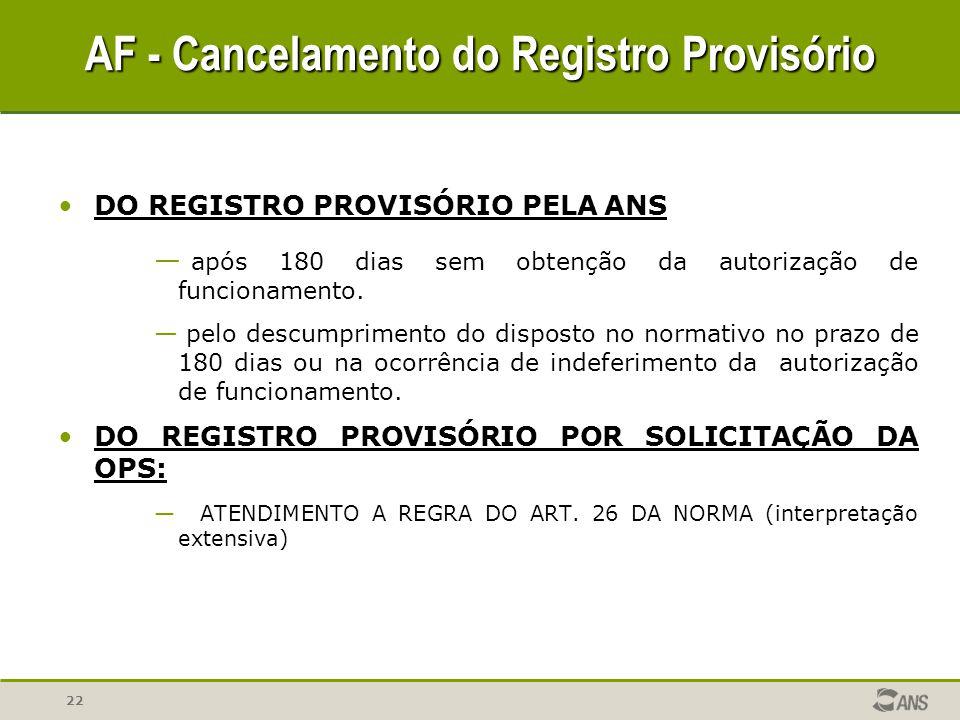 22 DO REGISTRO PROVISÓRIO PELA ANS — após 180 dias sem obtenção da autorização de funcionamento. — pelo descumprimento do disposto no normativo no pra