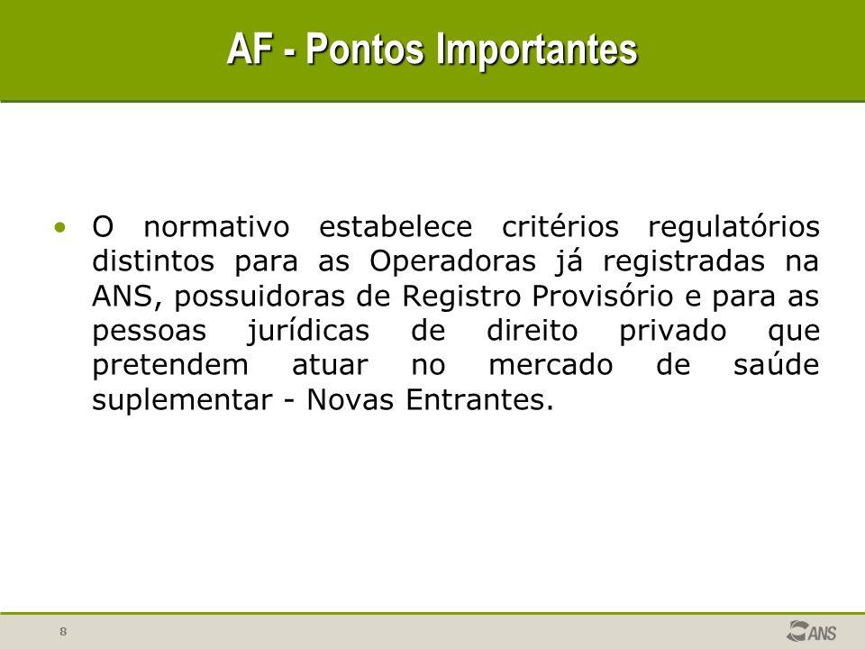 8 O normativo estabelece critérios regulatórios distintos para as Operadoras já registradas na ANS, possuidoras de Registro Provisório e para as pesso