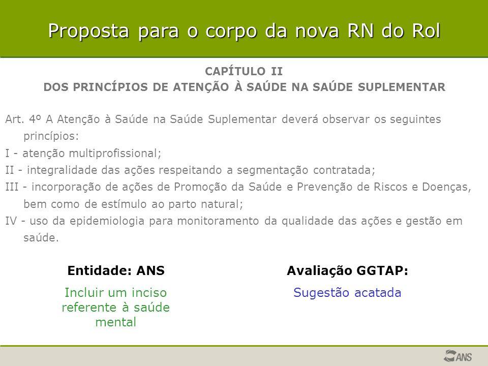 Proposta para o corpo da nova RN do Rol CAPÍTULO II DOS PRINCÍPIOS DE ATENÇÃO À SAÚDE NA SAÚDE SUPLEMENTAR Art. 4º A Atenção à Saúde na Saúde Suplemen
