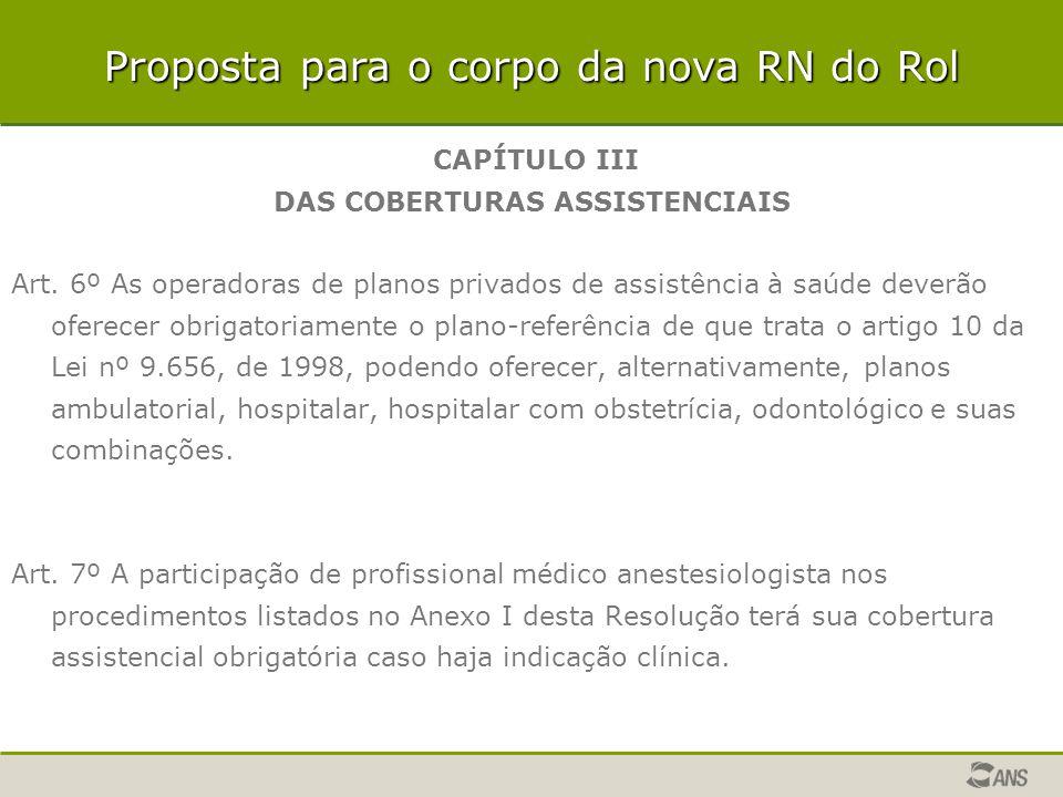 CAPÍTULO III DAS COBERTURAS ASSISTENCIAIS Art. 6º As operadoras de planos privados de assistência à saúde deverão oferecer obrigatoriamente o plano-re