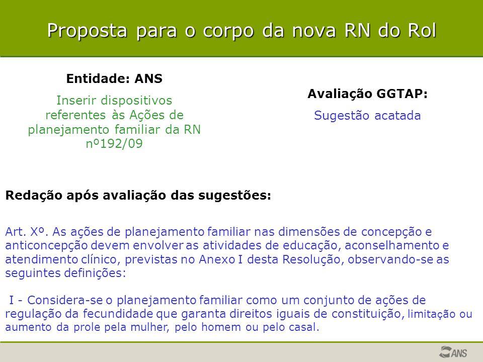 Entidade: ANS Inserir dispositivos referentes às Ações de planejamento familiar da RN nº192/09 Avaliação GGTAP: Sugestão acatada Redação após avaliaçã