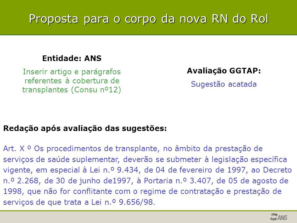 Proposta para o corpo da nova RN do Rol Entidade: ANS Inserir artigo e parágrafos referentes à cobertura de transplantes (Consu nº12) Avaliação GGTAP: