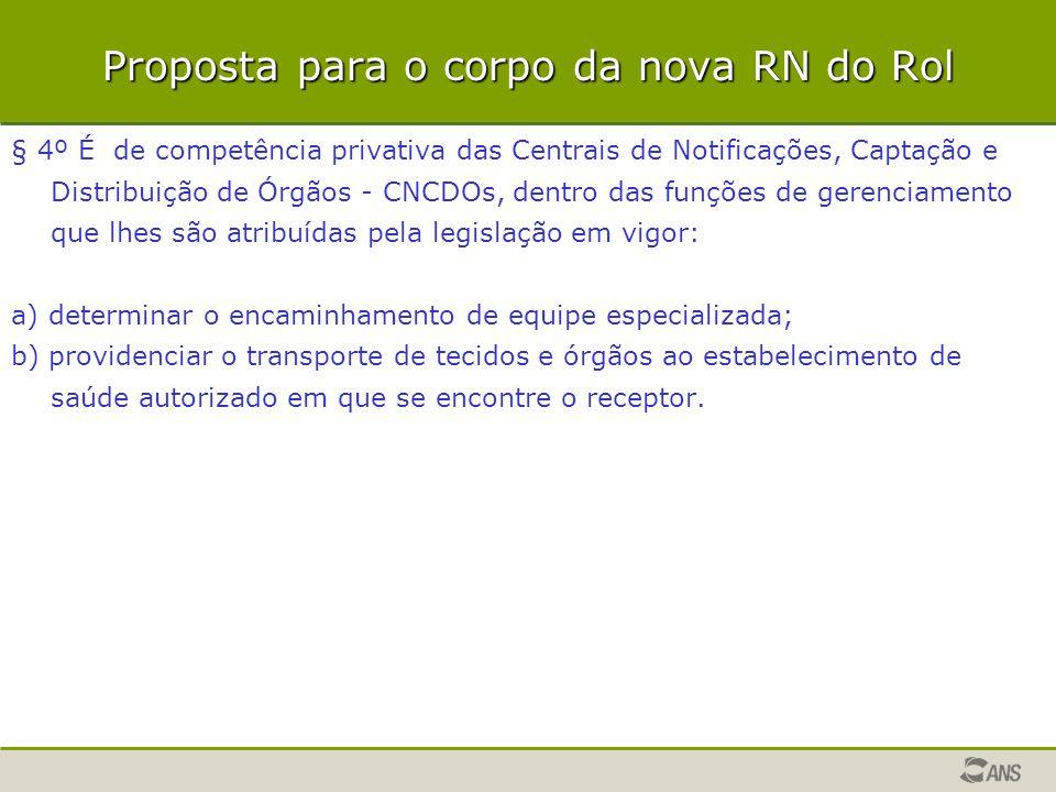 Proposta para o corpo da nova RN do Rol § 4º É de competência privativa das Centrais de Notificações, Captação e Distribuição de Órgãos - CNCDOs, dent