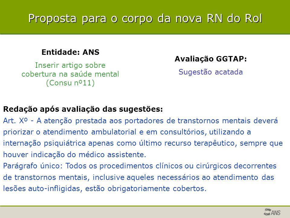Proposta para o corpo da nova RN do Rol Entidade: ANS Inserir artigo sobre cobertura na saúde mental (Consu nº11) Avaliação GGTAP: Sugestão acatada Re