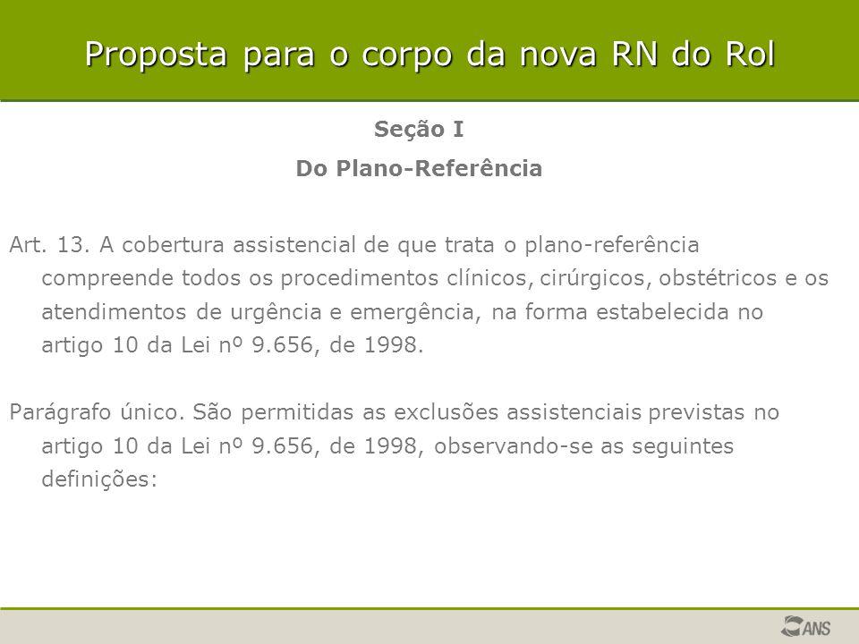 Seção I Do Plano-Referência Art. 13. A cobertura assistencial de que trata o plano-referência compreende todos os procedimentos clínicos, cirúrgicos,