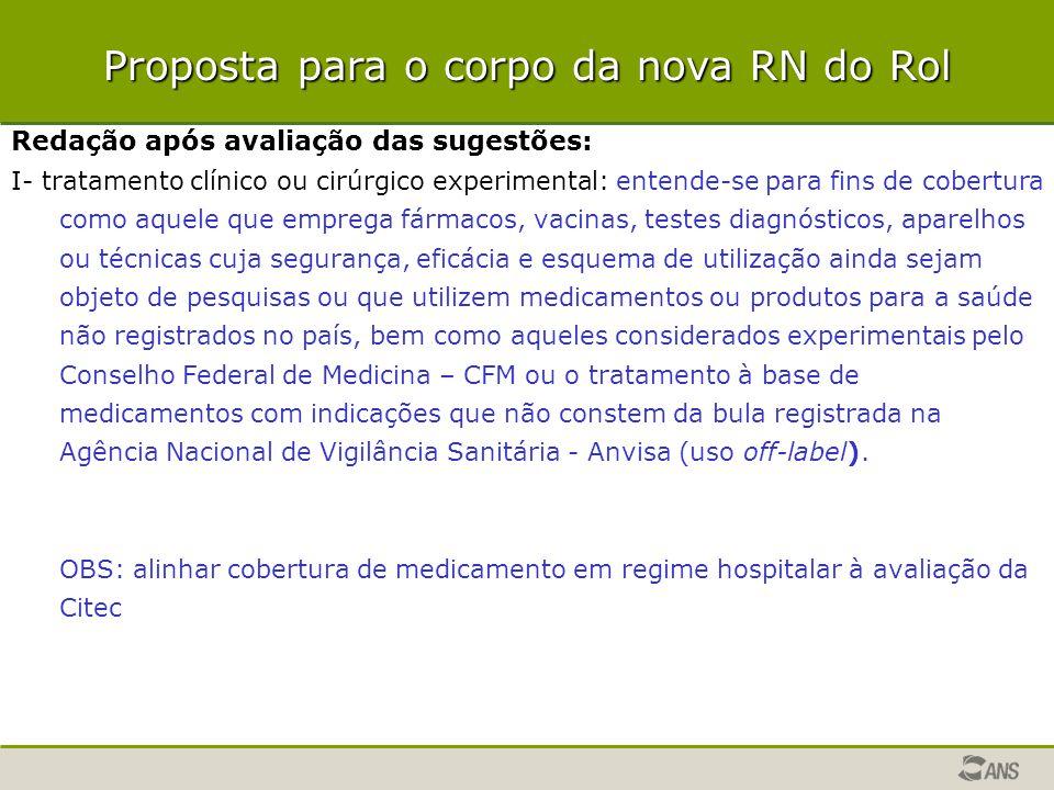 Redação após avaliação das sugestões: I- tratamento clínico ou cirúrgico experimental: entende-se para fins de cobertura como aquele que emprega fárma