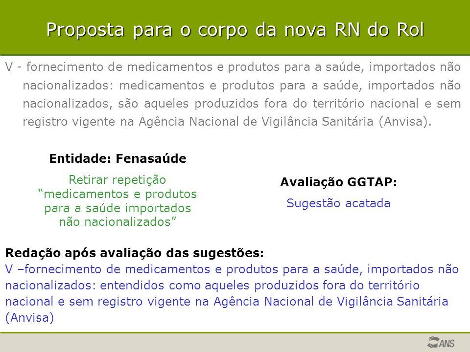 V - fornecimento de medicamentos e produtos para a saúde, importados não nacionalizados: medicamentos e produtos para a saúde, importados não nacional