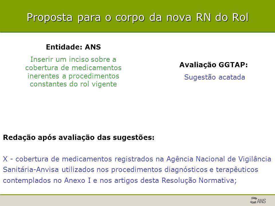 Entidade: ANS Inserir um inciso sobre a cobertura de medicamentos inerentes a procedimentos constantes do rol vigente Avaliação GGTAP: Sugestão acatad