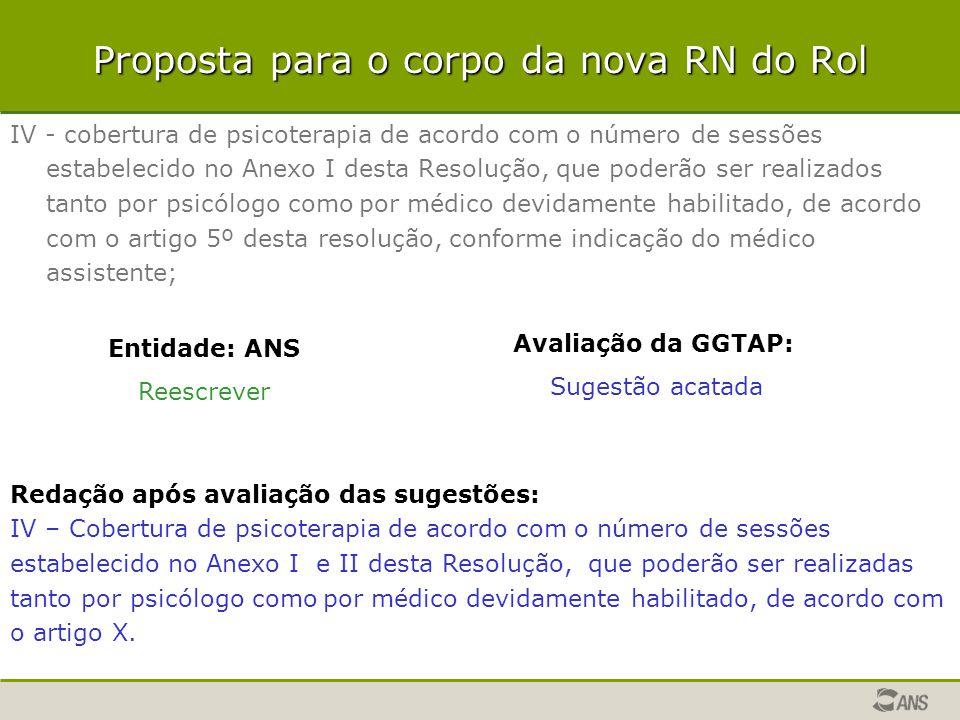 Proposta para o corpo da nova RN do Rol IV - cobertura de psicoterapia de acordo com o número de sessões estabelecido no Anexo I desta Resolução, que