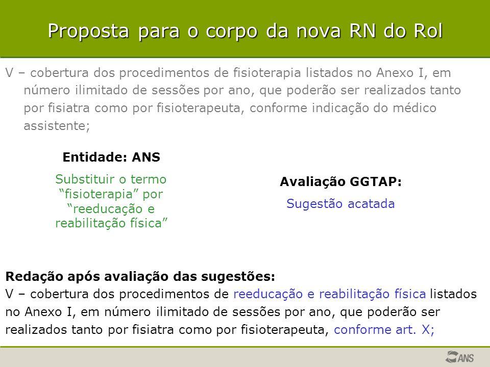 Proposta para o corpo da nova RN do Rol V – cobertura dos procedimentos de fisioterapia listados no Anexo I, em número ilimitado de sessões por ano, q