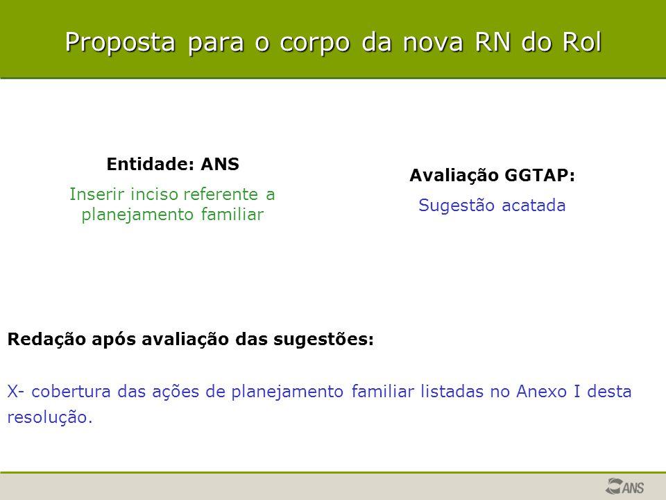 Proposta para o corpo da nova RN do Rol Entidade: ANS Inserir inciso referente a planejamento familiar Avaliação GGTAP: Sugestão acatada Redação após