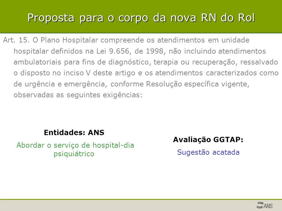Proposta para o corpo da nova RN do Rol Art. 15. O Plano Hospitalar compreende os atendimentos em unidade hospitalar definidos na Lei 9.656, de 1998,