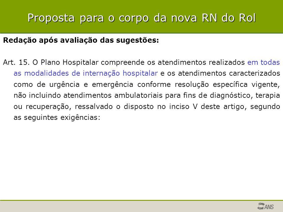 Proposta para o corpo da nova RN do Rol Redação após avaliação das sugestões: Art. 15. O Plano Hospitalar compreende os atendimentos realizados em tod