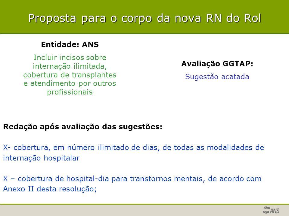 Proposta para o corpo da nova RN do Rol Entidade: ANS Incluir incisos sobre internação ilimitada, cobertura de transplantes e atendimento por outros p