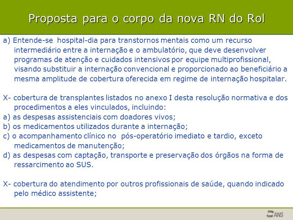 Proposta para o corpo da nova RN do Rol a) Entende-se hospital-dia para transtornos mentais como um recurso intermediário entre a internação e o ambul