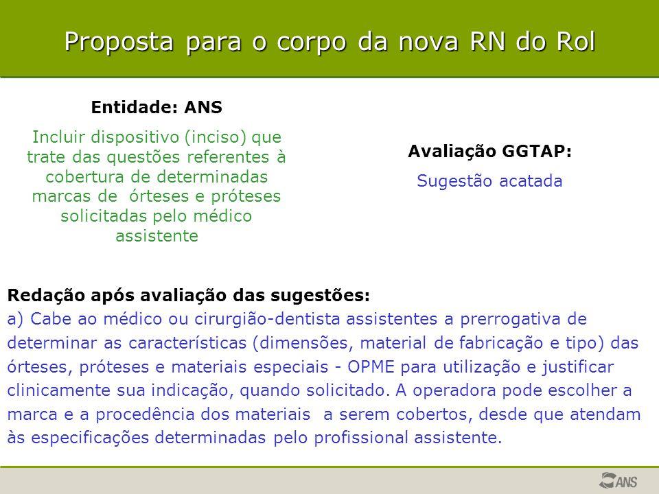 Proposta para o corpo da nova RN do Rol Entidade: ANS Incluir dispositivo (inciso) que trate das questões referentes à cobertura de determinadas marca