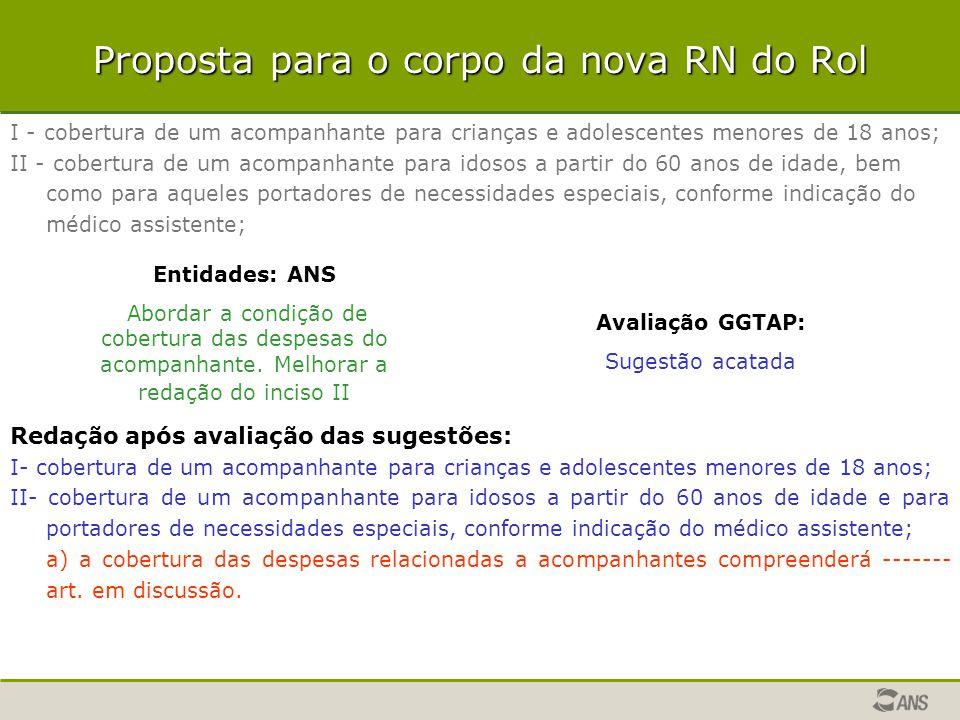 Proposta para o corpo da nova RN do Rol I - cobertura de um acompanhante para crianças e adolescentes menores de 18 anos; II - cobertura de um acompan