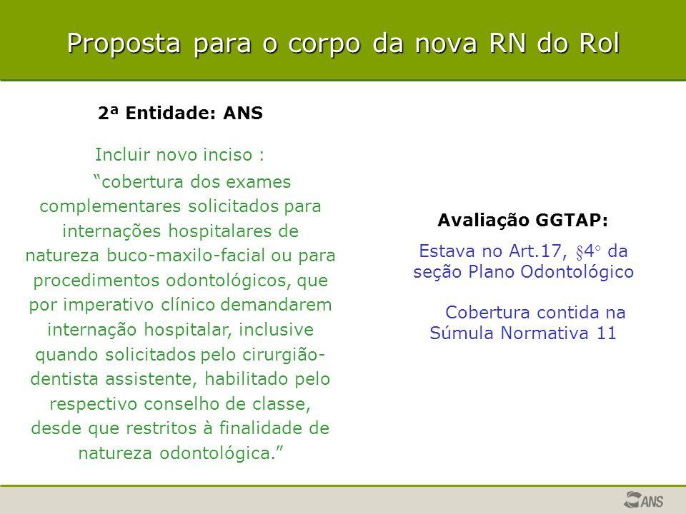 """Proposta para o corpo da nova RN do Rol 2ª Entidade: ANS Incluir novo inciso : """"cobertura dos exames complementares solicitados para internações hospi"""