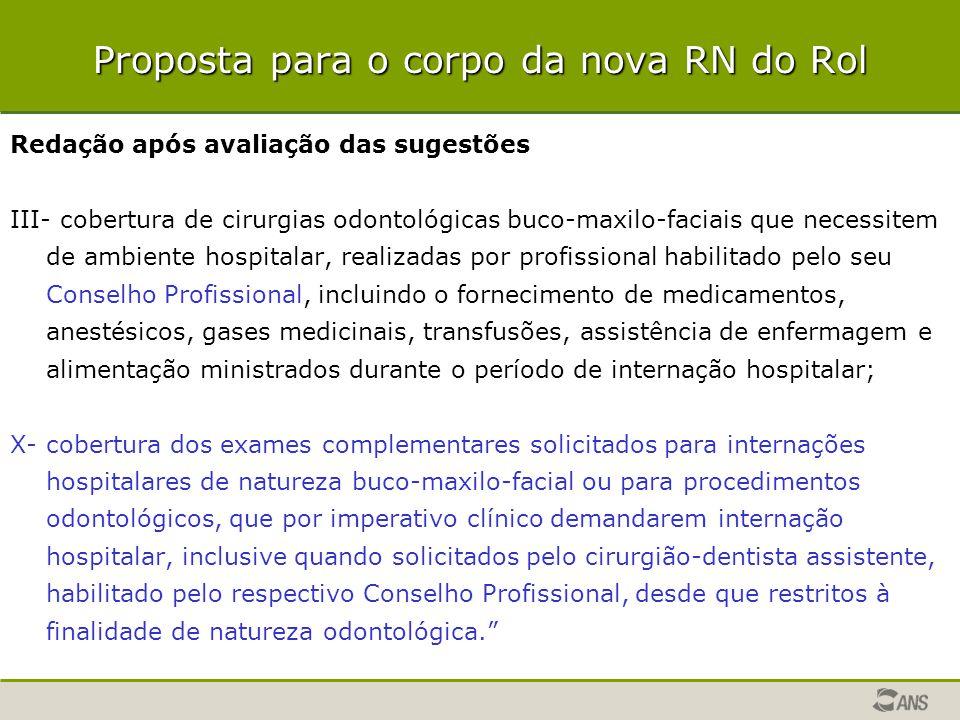 Proposta para o corpo da nova RN do Rol Redação após avaliação das sugestões III- cobertura de cirurgias odontológicas buco-maxilo-faciais que necessi