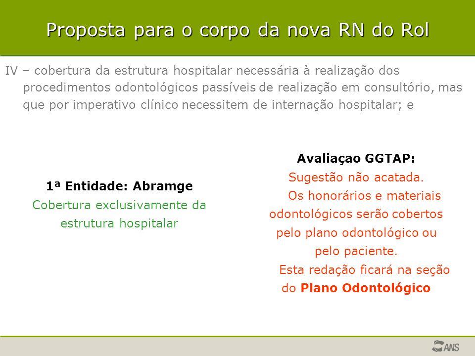 Proposta para o corpo da nova RN do Rol IV – cobertura da estrutura hospitalar necessária à realização dos procedimentos odontológicos passíveis de re