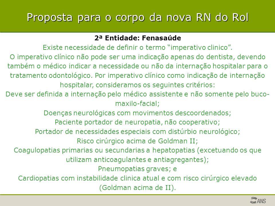 """Proposta para o corpo da nova RN do Rol 2ª Entidade: Fenasaúde Existe necessidade de definir o termo """"imperativo clinico"""". O imperativo clínico não po"""