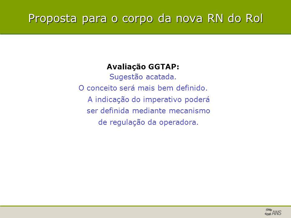 Proposta para o corpo da nova RN do Rol Avaliação GGTAP: Sugestão acatada. O conceito será mais bem definido. A indicação do imperativo poderá ser def