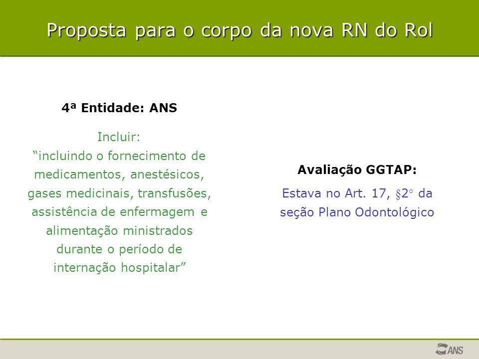 """Proposta para o corpo da nova RN do Rol 4ª Entidade: ANS Incluir: """"incluindo o fornecimento de medicamentos, anestésicos, gases medicinais, transfusõe"""