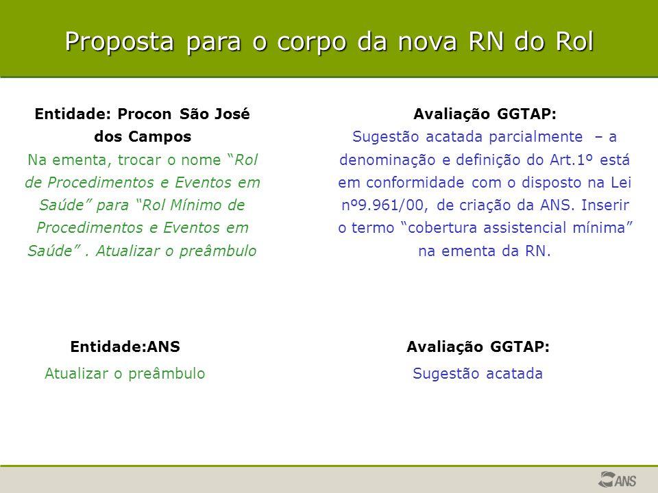 """Proposta para o corpo da nova RN do Rol Entidade: Procon São José dos Campos Na ementa, trocar o nome """"Rol de Procedimentos e Eventos em Saúde"""" para """""""