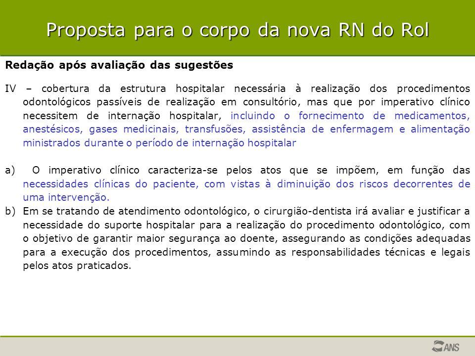 Proposta para o corpo da nova RN do Rol Redação após avaliação das sugestões IV – cobertura da estrutura hospitalar necessária à realização dos proced