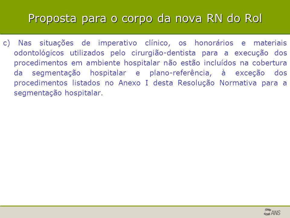 Proposta para o corpo da nova RN do Rol c) Nas situações de imperativo clínico, os honorários e materiais odontológicos utilizados pelo cirurgião-dent