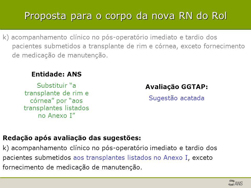 Proposta para o corpo da nova RN do Rol k) acompanhamento clínico no pós-operatório imediato e tardio dos pacientes submetidos a transplante de rim e